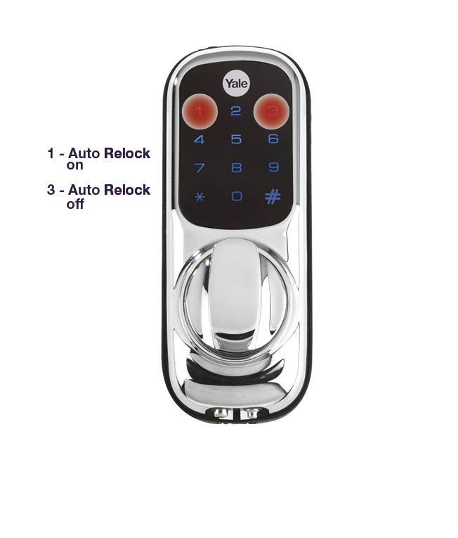 yale keyless smart door lock with the 1 and 3 buttons highlighted and text saying 1 auto re-lock on and 3 auto re-lock off
