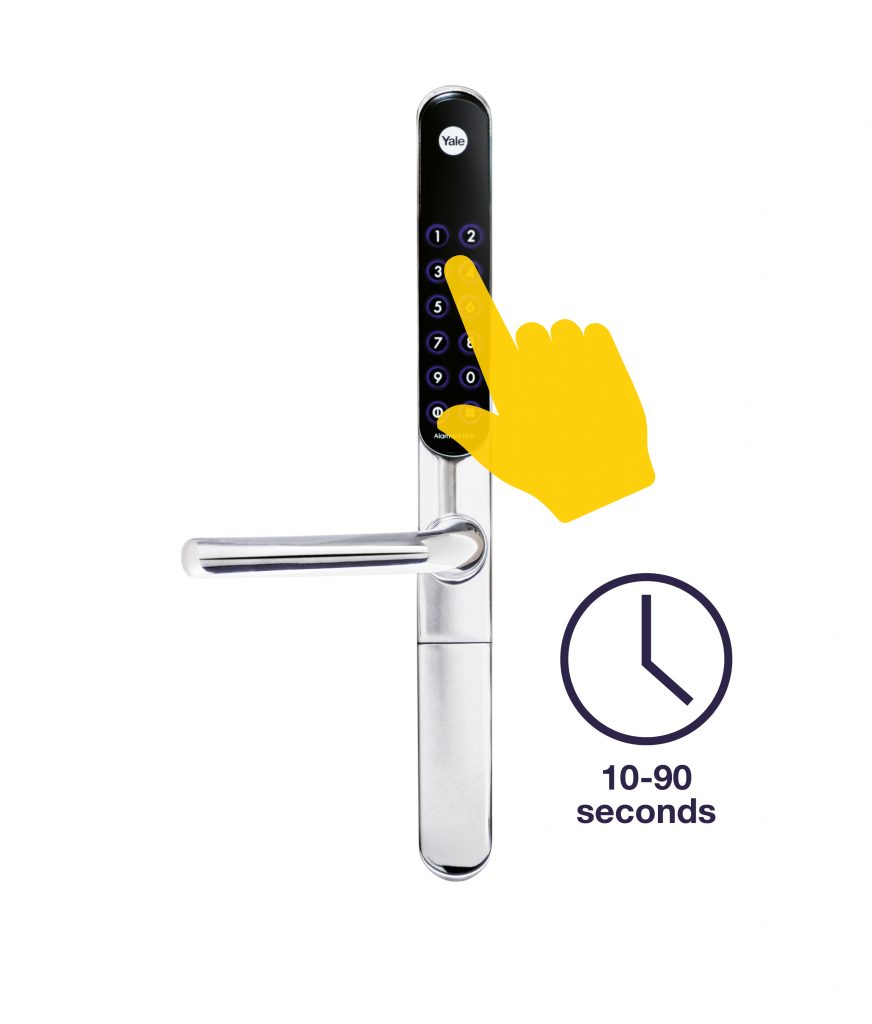 keyfree door lock with clock by the side and text saying 10-90 seconds