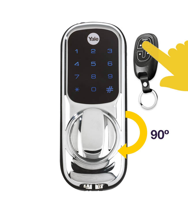 keyless smart door lock with a yale key fob in front of it and a 90 degree clockwise arrow by the thumbturn