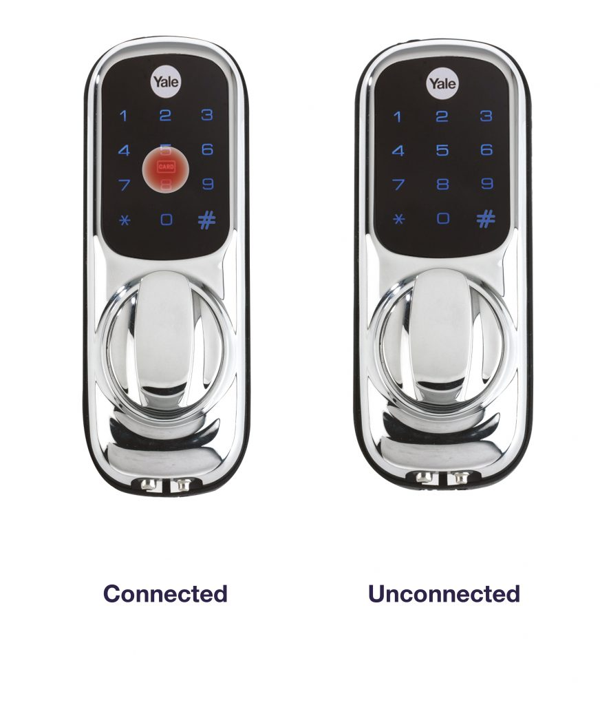 yale keyless connected lock side by side against the yale keyless unconnected lock
