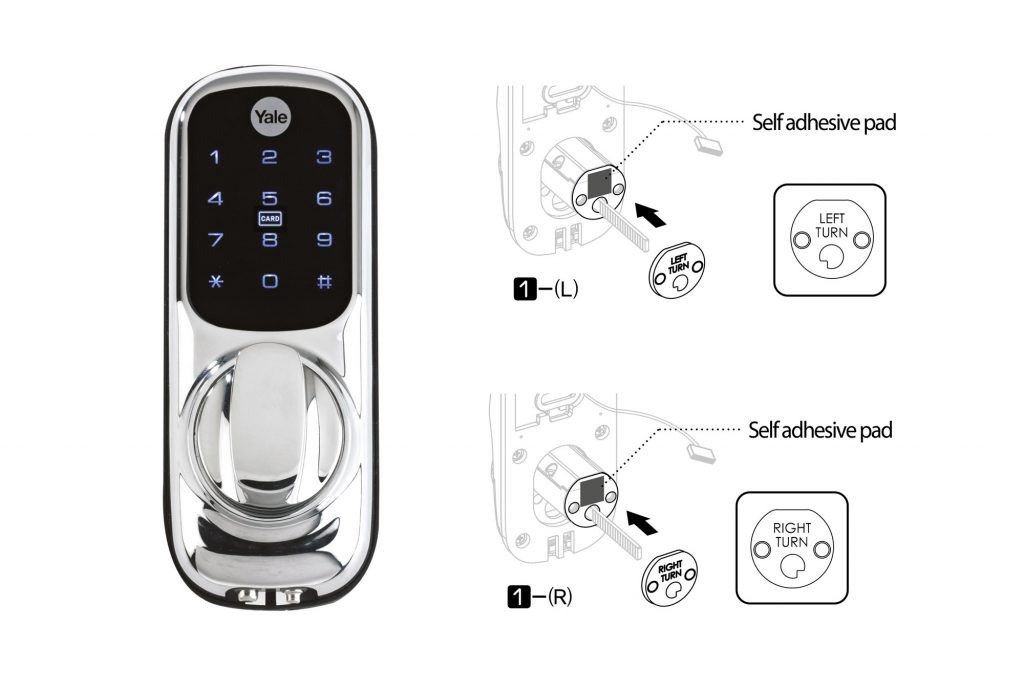 keyless connected door lock showing left turn and right turn handling plates