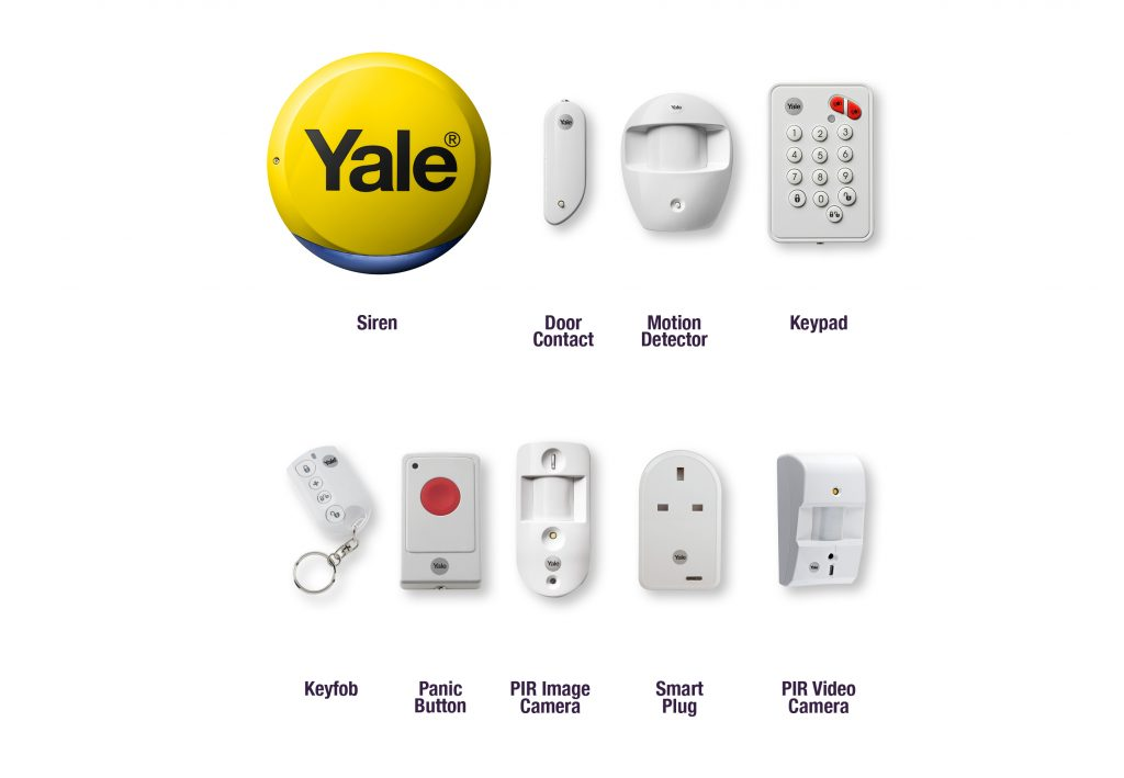 Image of various accessories that work with the Smart Home Alarm Range.
