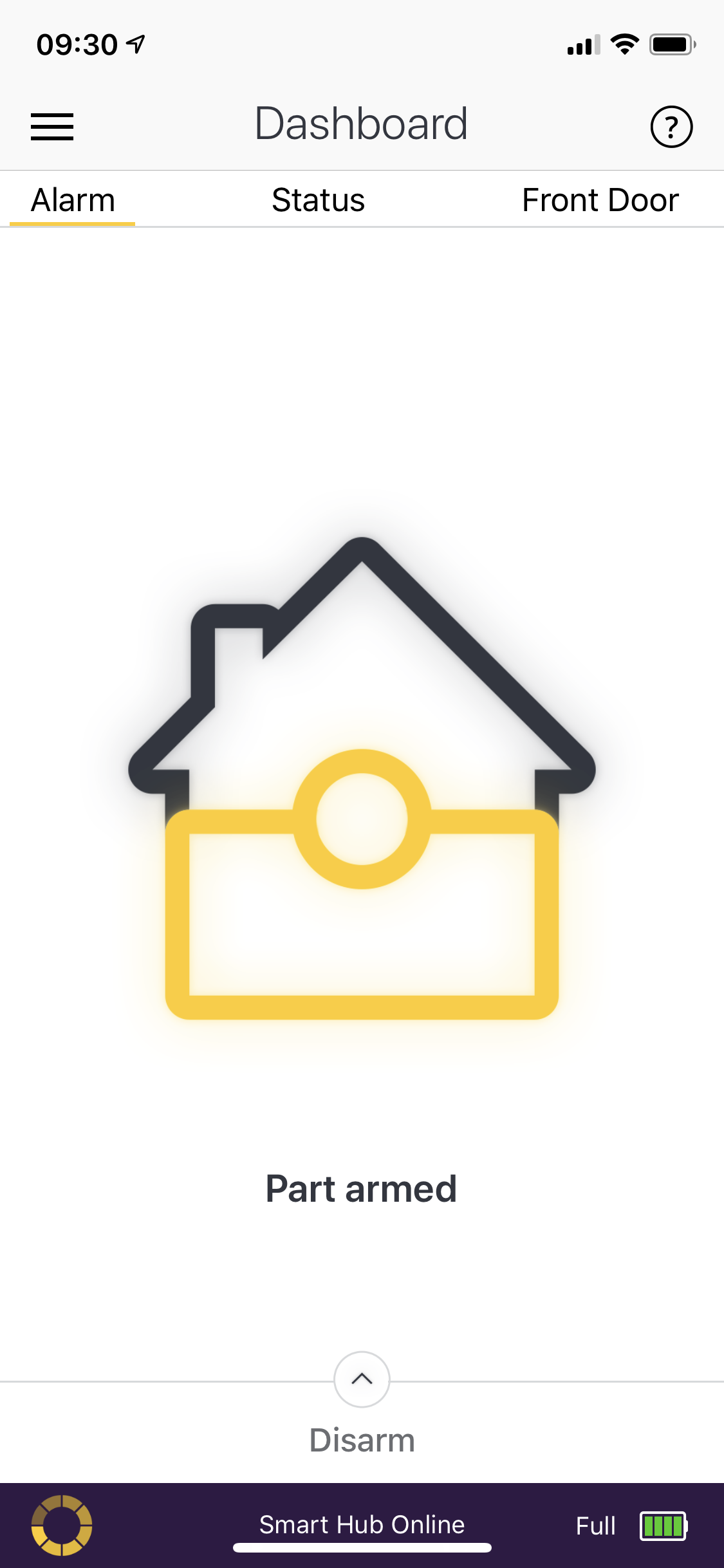 Image of house half yellow half blue on a phone
